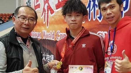龍華科大遊戲系馬國僑生陳為鎮,蟬聯孫逸仙盃全球武術大賽個人太極拳、太極劍雙料冠軍。