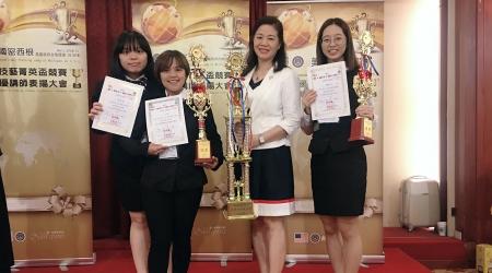 龍華科大觀休系老師鍾涓涓(右2),指導學生參加MNS國際菁英盃獲佳績。