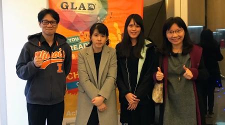 龍華科大國企系師生獲2018 PVQC專業英日文詞彙與聽力能力大賽北二區域賽冠亞軍,左起為宋家慶、李嘉旻、李郁嫻、孫麗珠。